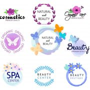 Logos of natural health and beauty. Spa, beauty center, top quality cosmetics, natural products. Vector illustration isolated on white background.